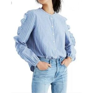 Madewell Striped Frill Sleeve Shirt in Size 2XS